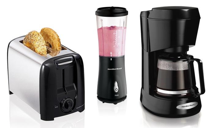 Hamilton Beach 5-Cup Coffeemaker, Toaster, Blender Bundle-sale-01