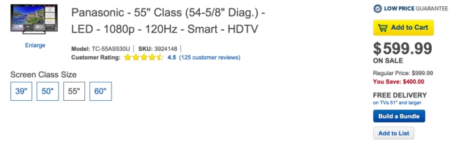 Panasonic - 55%22 Class (54-5:8%22 Diag.) - LED - 1080p - 120Hz - Smart - HDTV