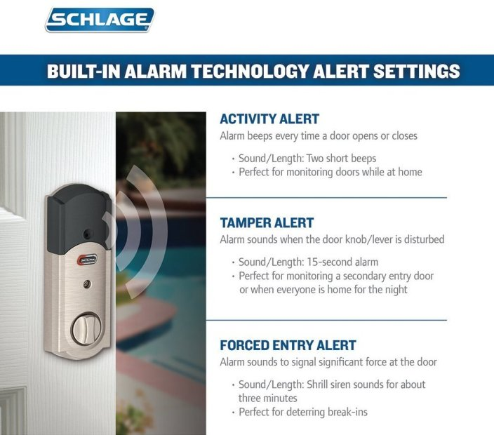 Schlage Connect Camelot Touchscreen Deadbolt with Built-In Alarm in Satin Nickel-BE469NXCAM619-sale-02