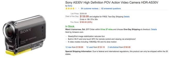 Sony AS30V High Definition POV Action Video Camera