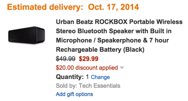 Urban Beatz ROCKBOX Portable Wireless Stereo Bluetooth Speaker with Built in Microphone : Speakerphone & 7 hour Rechargeable Battery