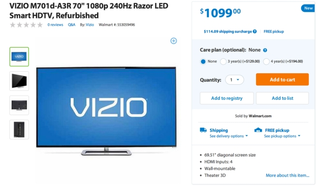 VIZIO M701d-A3R 70%22 1080p 240Hz Razor LED Smart HDTV