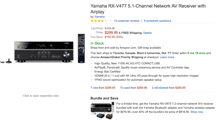Yamaha 5.1-Channel Network AV Receiver with Airplay (RX-V477-01