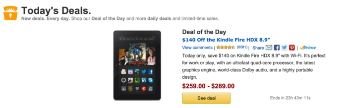 $140 Off the Kindle Fire HDX 8.9%22