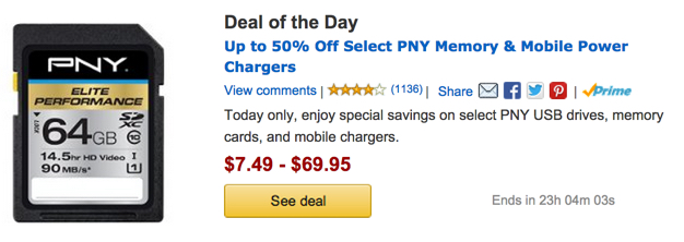 Amazon Deal of the Day Gold Box PNY