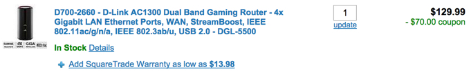 D-Link AC1300 Dual Band Gaming Router - 4x Gigabit LAN Ethernet Ports, WAN, StreamBoost, IEEE 802.11ac:g:n:a, IEEE 802.3ab:u, USB 2.0 - DGL-5500 coupon