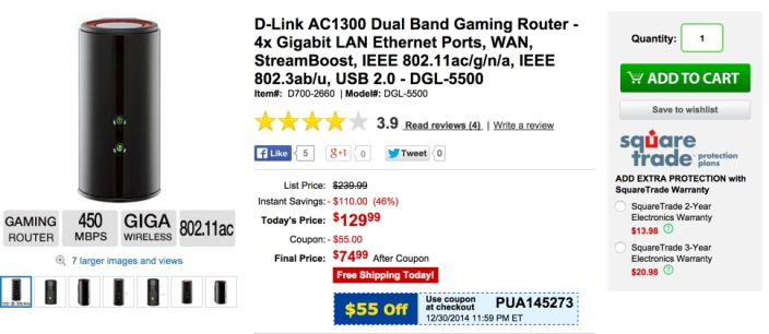 D-Link AC1300 Dual Band Gaming Router - 4x Gigabit LAN Ethernet Ports, WAN, StreamBoost, IEEE 802.11ac:g:n:a, IEEE 802.3ab:u, USB 2.0 - DGL-5500
