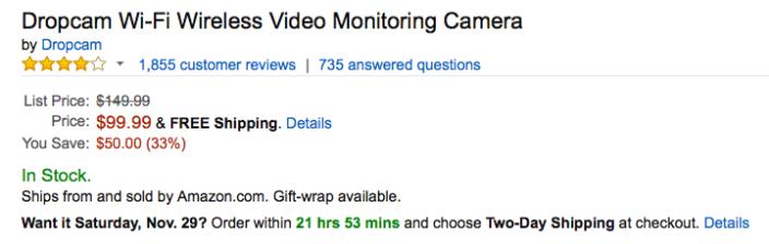 dropcam-wifi-camera-amazon-deal