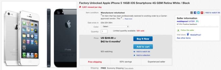 Factory Unlocked Apple iPhone 5 16GB 4G GSM (refurb)