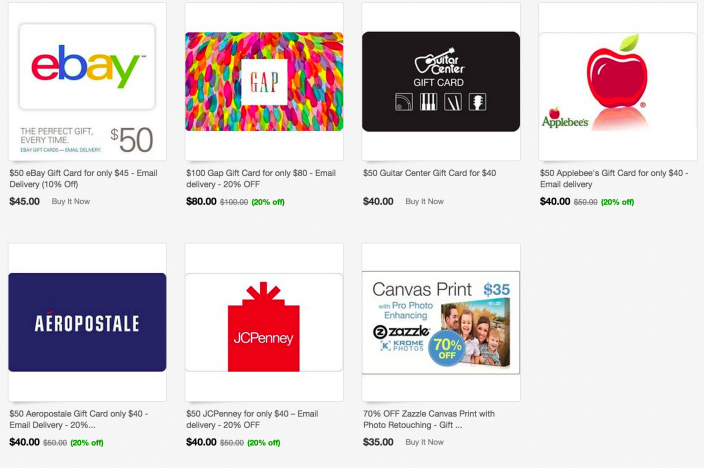 gift cards up to 20 off ebay gap applebees jcpenney aeropostale guitar center more. Black Bedroom Furniture Sets. Home Design Ideas