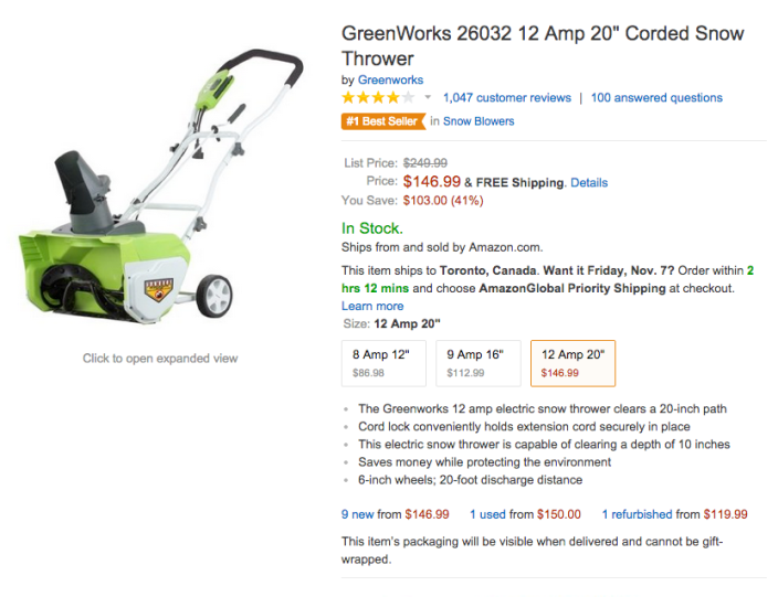 GreenWorks 12 Amp 20%22 Corded Snow Thrower (26032-sale-02