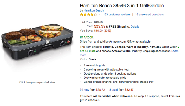 Hamilton Beach 3-in-1 Grill:Griddle (38546)-sale-03