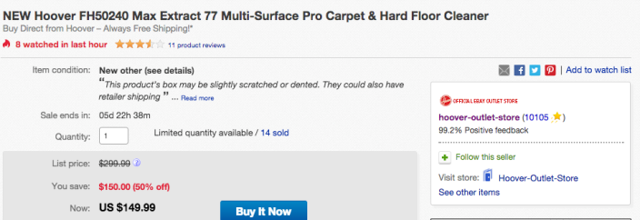 Hoover Max Extract 77 Multi-Surface Pro Carpet & Hard Floor Deep Cleaner (FH50240-02