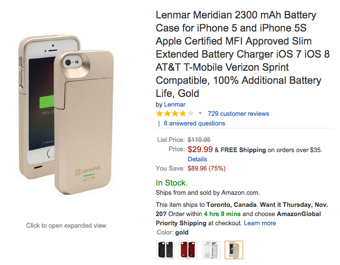 Lenmar Meridian 2300 mAh iPhone 5:5s Battery Case-01