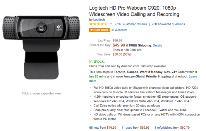 Logitech HD Pro Webcam C920 w: 1080p Widescreen Video Calling and Recording-sale-03