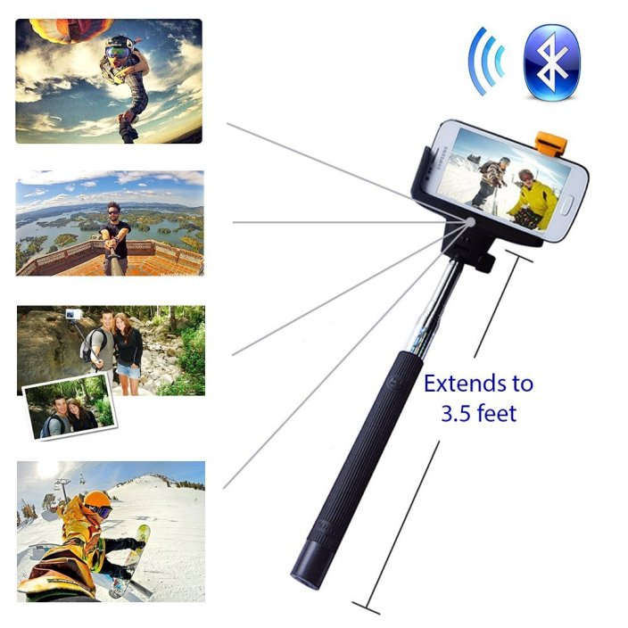 Minisuit Selfie Stick Pro with Built-In Remote on Handle for GoPro, Apple & Android Phones