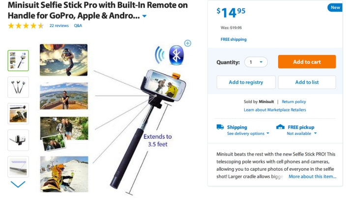 Minisuit Selfie Stick Pro with Built-In Remote on Handle for GoPro, Apple & Android