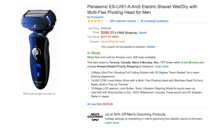 Panasonic Arc5 Electric Shaver Wet:Dry with Multi-Flex Pivoting Head for Men (ES-LV61-A-sale-05