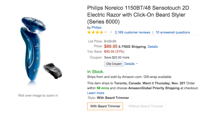 Philips Norelco Sensotouch 2D Electric Razor with Click-On Beard Styler-1150BT:48-sale-02