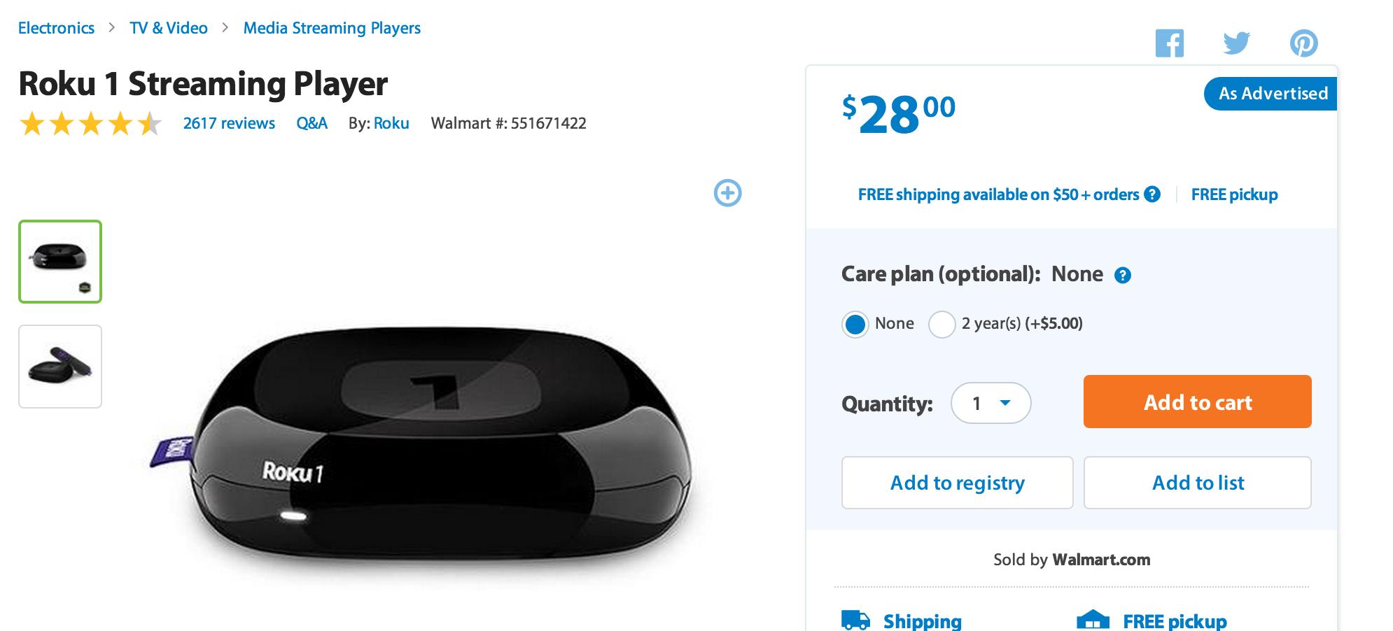Roku 1 streaming video player: $28 (reg. $50) Walmart and Amazon ...