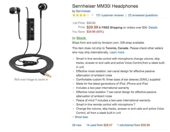 Sennheiser MM30i in-ear headphones w: mic and remote-sale-02