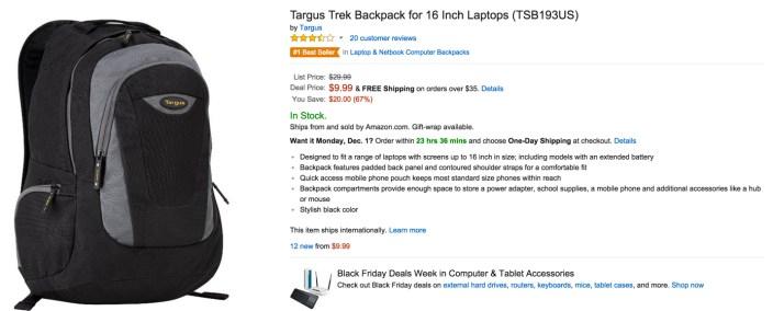 Targus Trek Backpack for 16 Inch Laptops (TSB193US)