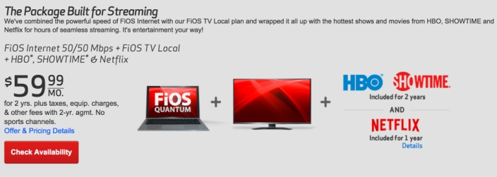 Verizon fios netflix hbo showtime