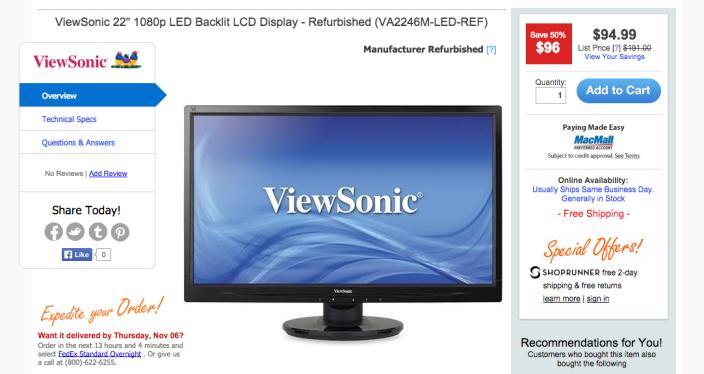 ViewSonic 1080p LED Backlit LCD Display (VA2246M-LED-REF-22