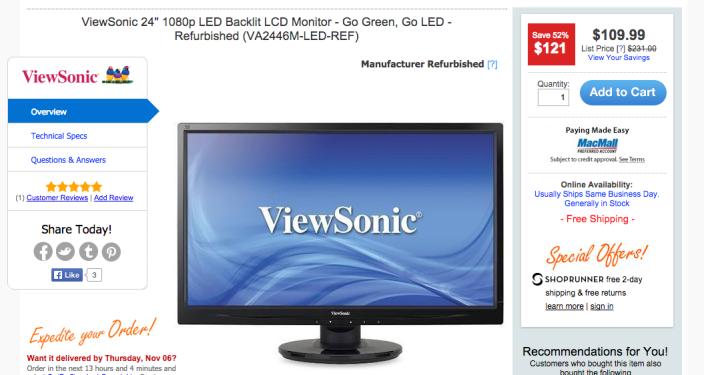ViewSonic 1080p LED Backlit LCD Display (VA2246M-LED-REF-24