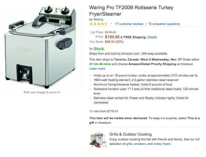 Waring Pro Rotisserie Turkey Fryer:Steamer (TF200B)-02