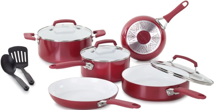 WearEver Pure Living Nonstick Ceramic Coating 10-Piece Cookware Set in red-sale-01
