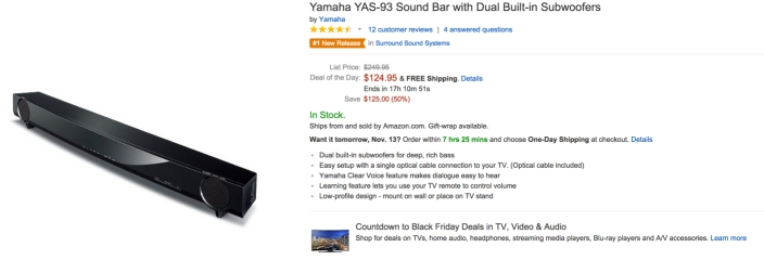 Yamaha YAS-93 Sound Bar with Dual Built-in Subwoofers