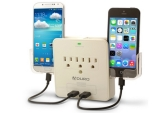 Aduro SURGE Dual USB Charging Station and Surge Protector with Phone Holders
