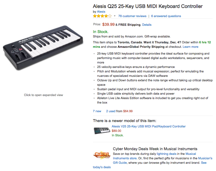 Alesis Q25 25-Key USB MIDI Keyboard Controller-sale-04
