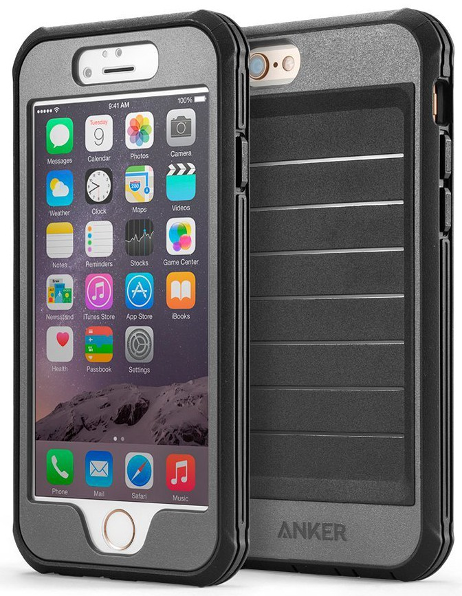 Anker® Ultra Protective Case With Built-in Clear Screen Protector for iPhone 6 (4.7 inch) Drop-Tested, Splash Resistant, Dust Proof Design (Black:Grey)