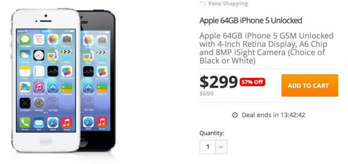 Apple 64GB iPhone 5 GSM Unlocked with 4-Inch Retina Display, A6 Chip and 8MP iSight Camera (Choice of Black or White)
