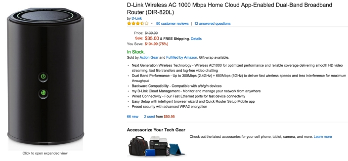 D-Link Wireless AC 1000 Mbps Home Cloud App-Enabled Broadband Router