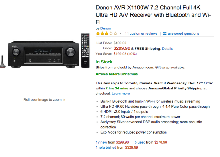 Denon 7.2 Channel Full 4K Ultra HD A:V Receiver with Bluetooth and Wi-Fi (AVR-X1100W)-sale-02