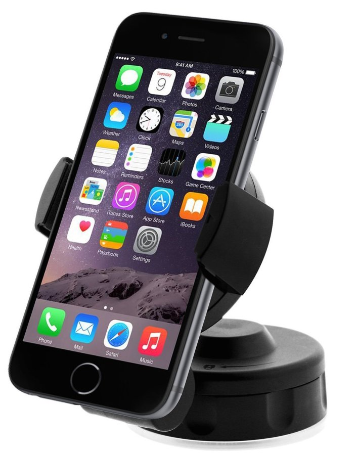 iOttie HLCRIO104 Easy Flex 2 Windshield Dashboard Car:Desk Mount Holder for iPhone 6 (4.7) :5s:5c:4s, Galaxy S4:S3, HTC One - Retail Packaging - Black