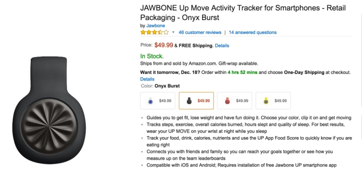 Jawbone up move activity tracker