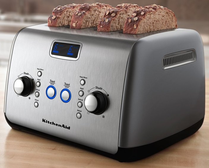 KitchenAid 4-Slice Toaster with One-Touch Lift:Lower and Digital Display in Contour Silver (KMT423CU-sale-01