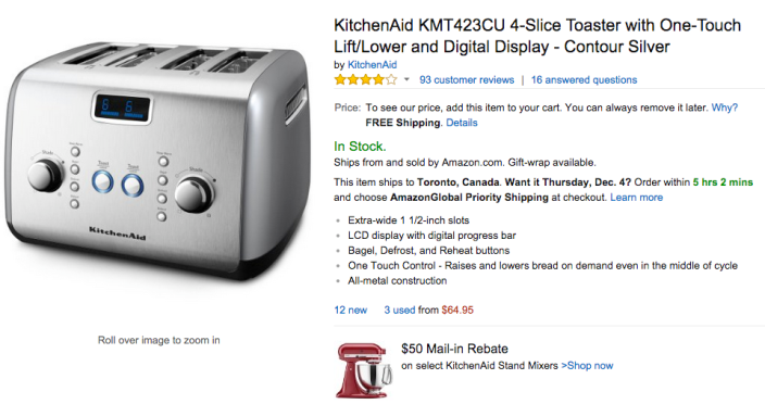 KitchenAid 4-Slice Toaster with One-Touch Lift:Lower and Digital Display in Contour Silver (KMT423CU-sale-02