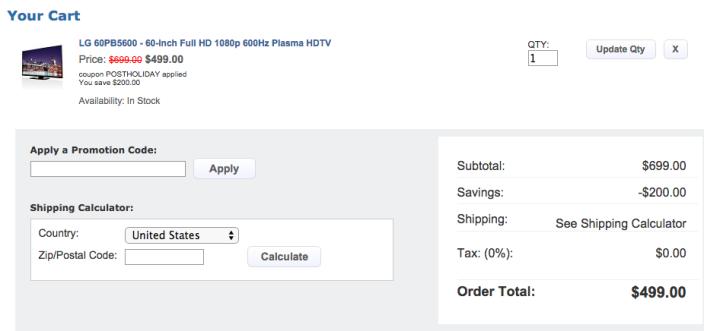 HDTVs: LG 60-inch 1080p 600Hz Plasma TV $499 (orig. $799