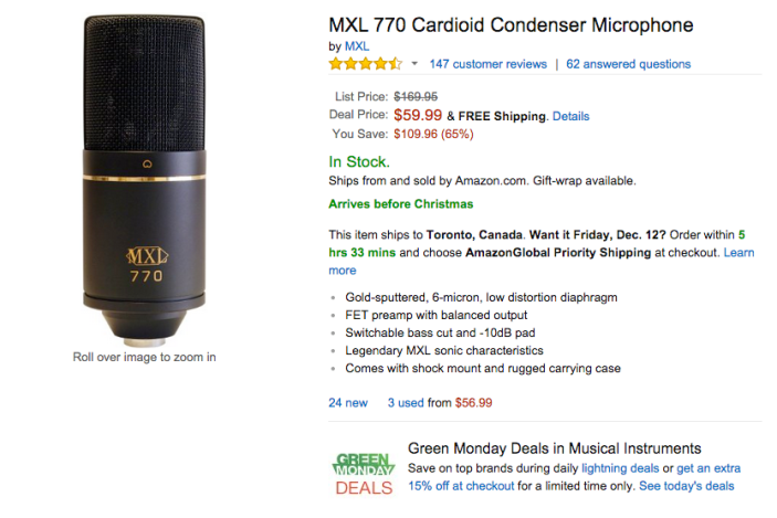 MXL 770 Cardioid Condenser Microphone-sale-03