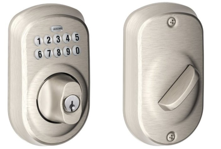 Schlage Plymouth Keypad Deadbolt in satin Nickel and Aged Bronze (BE365-sale-02