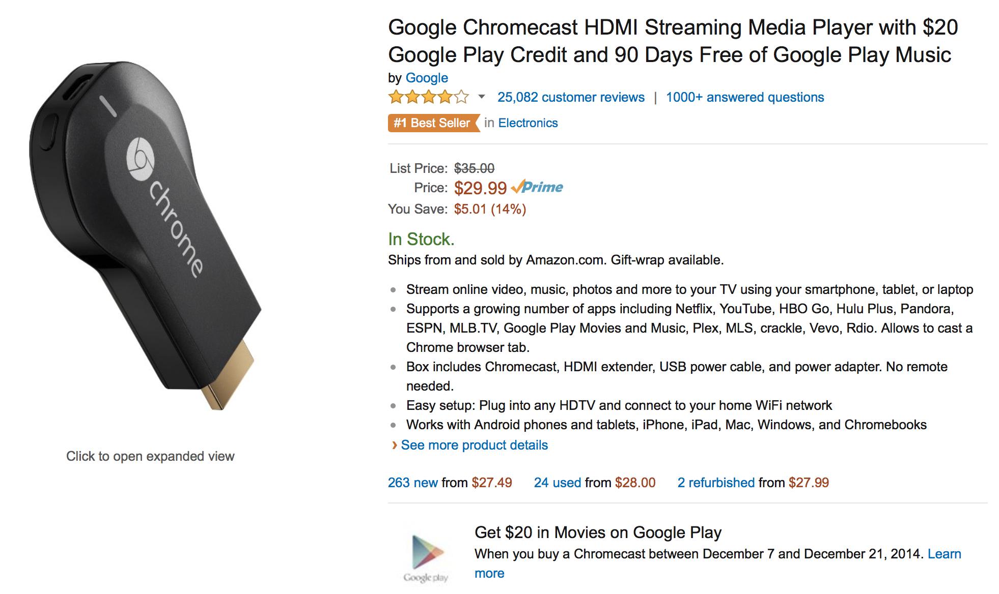 Google Chromecast + $40 Google Play credit, 3 months All