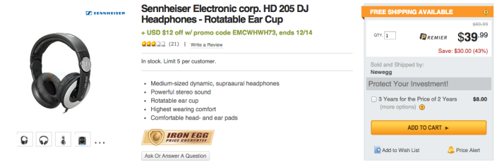 Sennheiser HD 205-II Studio Grade DJ Headphones (Black:Grey)-sale-02