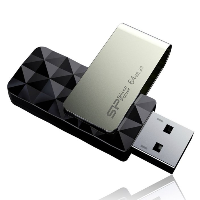 Silicon Power 64GB Blaze B30 USB 3.0 Swivel Flash Drive R:W up to 120:50 MB:s, Black (SP064GBUF3B30V1K)