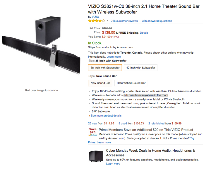 VIZIO 38-inch 2.1 Home Theater Sound Bar with Wireless Subwoofer (S3821w-C0)-sale-02