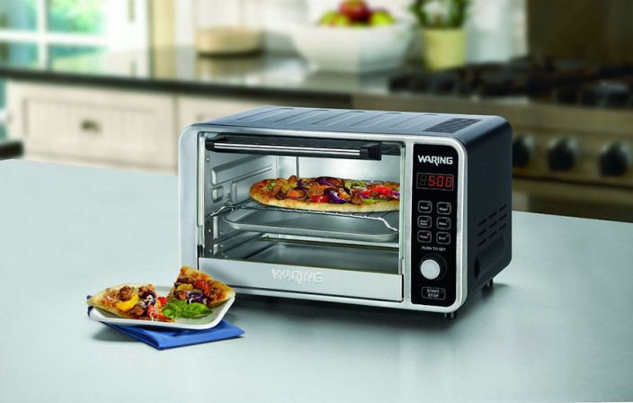 Waring Pro Convection Toaster:Pizza Oven in black and brushed stainless steel-sale-01